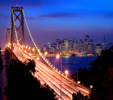 Picture of San Francisco Bay Bridge at Night. Used with permission from Shutterstock